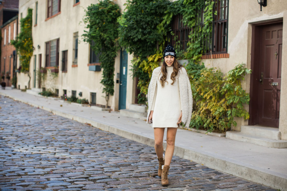 nyc blogger, lace-up boots, booties, brown booties, tan booties, sweater dress, neutrals